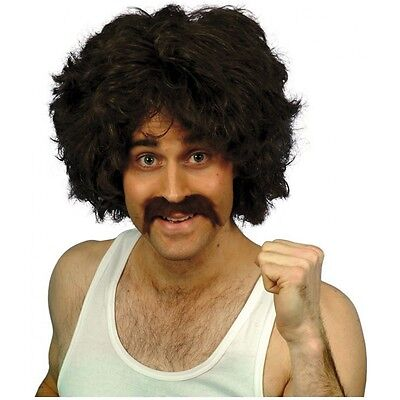 70s Wig and Moustache Adult Mens Disco Funny Halloween Costume Kit Fancy Dress - 70s Mens Wig