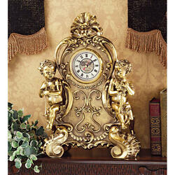 Baroque French Rococo Style Roman Numeral Cherub Desk Table Study Clock