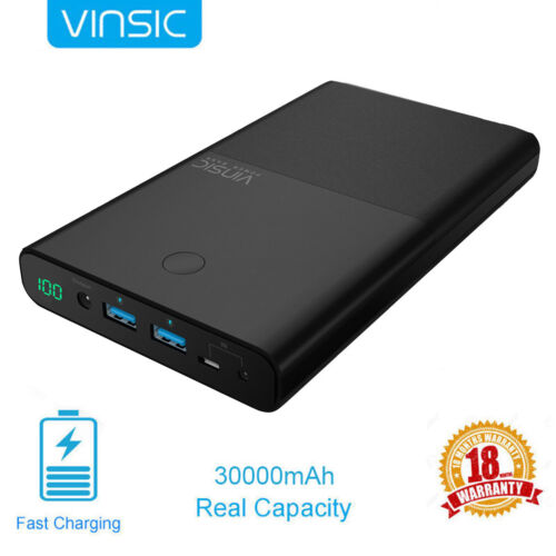 Vinsic 30000mAh DC & 2USB External Power Bank Portable