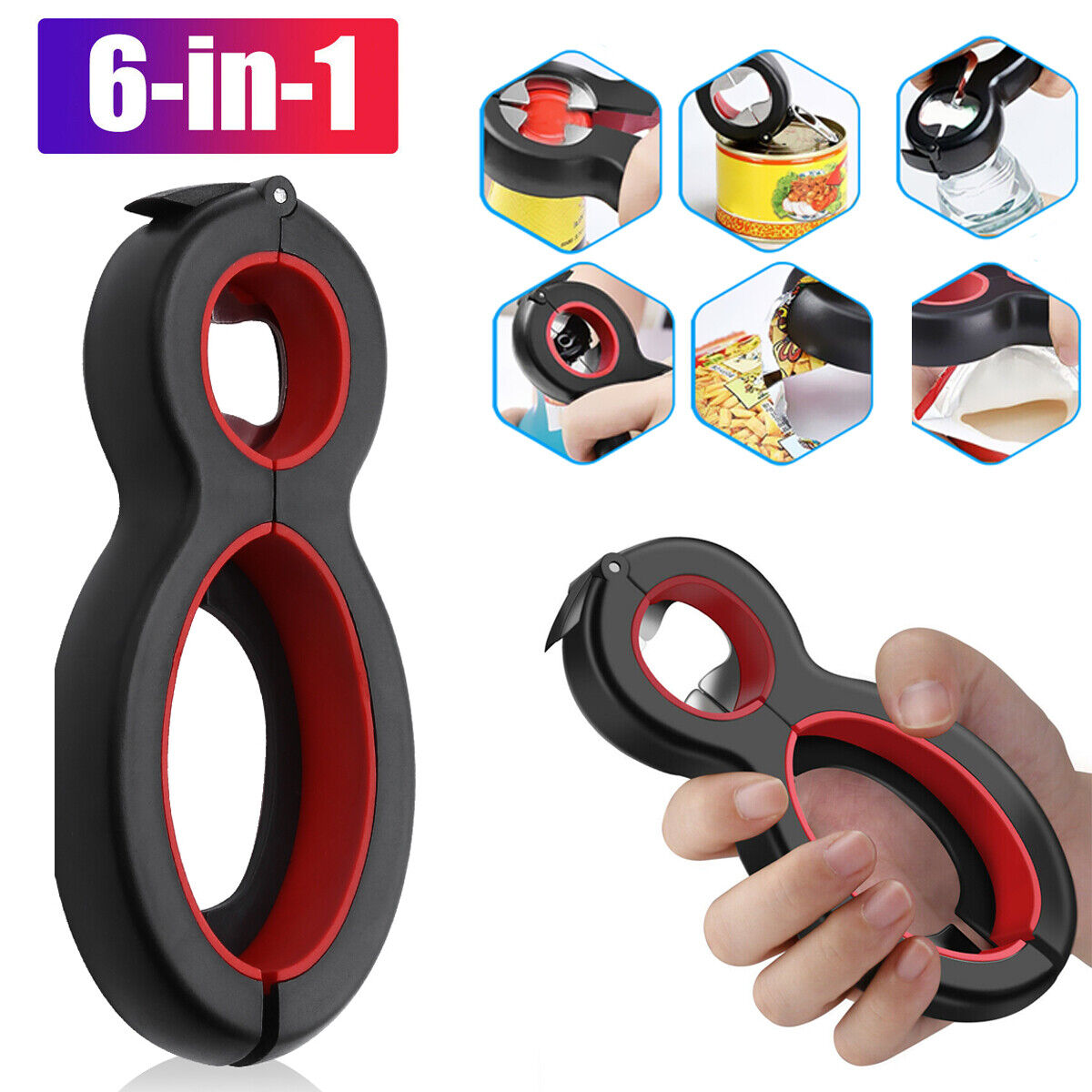 6in1 Twist Bottle Opener All in One Jar Gripper Can Remover