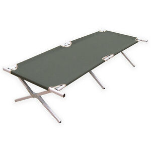 NEW Aluminium Military Army Camping Folding Camp Bed Cot w/ Carry Bag Case Green