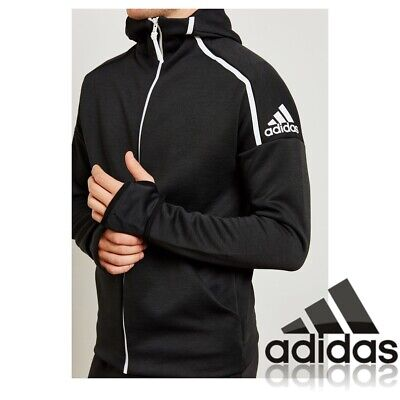 adidas Mens Hooded Sweatshirt Hoodie Black Full Zip Jacket Track Top Size XXL