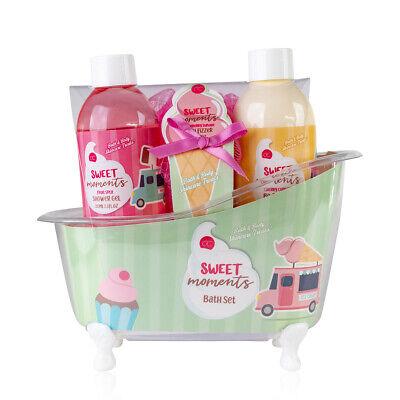 Pflege Geschenkset Sweet Moments in Badewanne 4-teilig Candy Badeset für Frauen