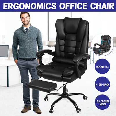 Executive Office Chair High Back Swivel Computer Chair Recliner Pu Leather Desk