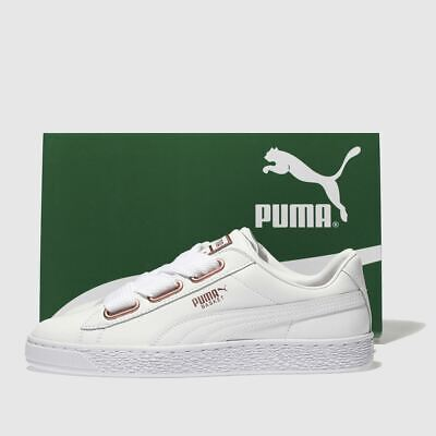 Puma Ladies Shoes Basket Heart Leather White Size 38 New