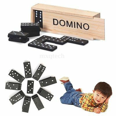 Kids Children's Wooden Boxed Domino Game Play Set Traditional Classic Toy Gifts