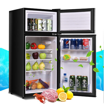 Double Doors 3.4 cu ft. Unit Compact Mini Refrigerator Freezer Cooler Fridge