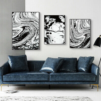 Abstract Black White Texture Print Canvas Art Poster Picture Home Modern Decor