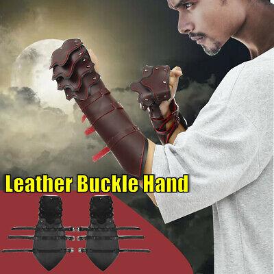 Vintage PU Leather Medieval Arm Guard Armor Pair of Bracers Cosplay Costume