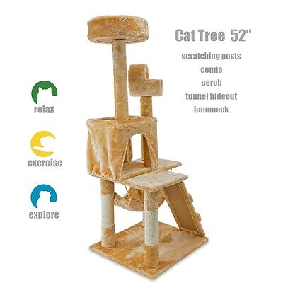 """52"""" Cat Kitty Tree Tower Condo Furniture Scratch Post Pet House Toy Beige Paws"""