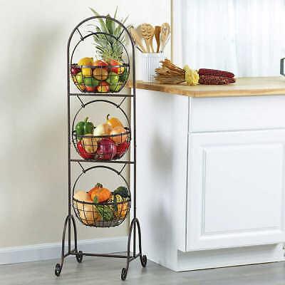 3 tier Market Basket Standing Vegetable Fruit Kitchen Wire Basket Sale Cheap