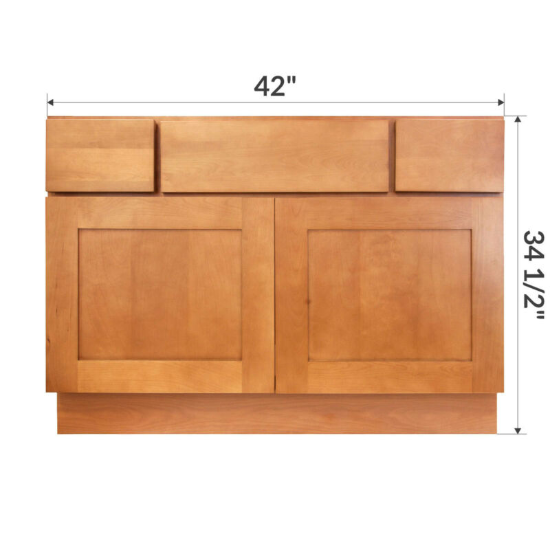"""42"""" Bathroom Vanity Sink Base Cabinet Maple Newport by LessCare"""