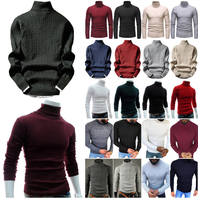 Men High Neck Knitted Jumper High Roll Turtle Neck Knitwear Pullover Casual Tops - $18.39