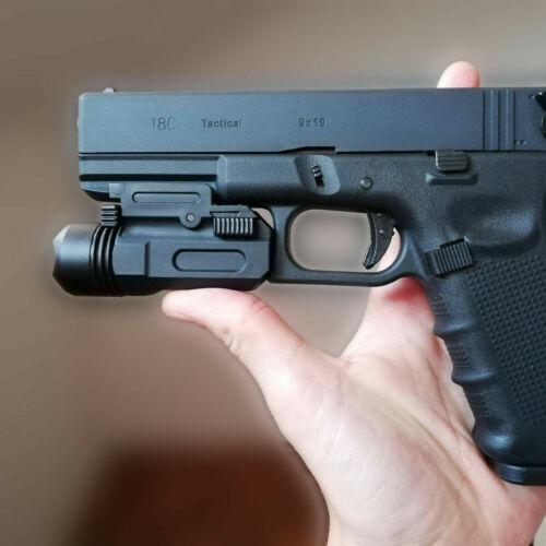 Tactical Pistol Gun Flashlight Handgun Torch Light For 20mm Glock 17 19 18C