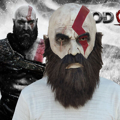 God of War Mask Kratos Horror Cosplay Latex Full Head Face Halloween Party - Kratos Mask