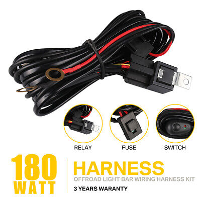 LED HID 12V 40A Wiring Loom Harness Spot Work Driving light bar Relay Switch kit