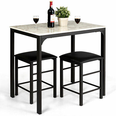 3 Piece Counter Height Dining Set Faux Marble Table and 2 Chairs Kitchen Bar New