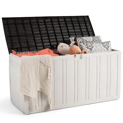 80 Gallon Deck Storage Box Tool Box Patio Storage Container Plastic Garden -