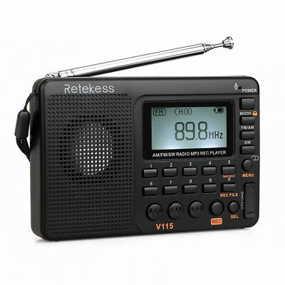 RETEKESS Portable Radio FM/MW/SW 9K/10K World Receiver MP3 Player Sleep Timer US