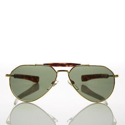 Vintage Gold Aviator Sonnenbrille Glaslinse Bajonett Bügel - Diamant Gold