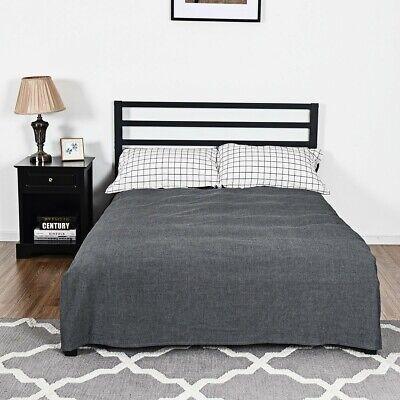 Full Size Steel Headboard - Full Size Steel Platform Bed Frame Stable Wooden Slats Modern Headboard