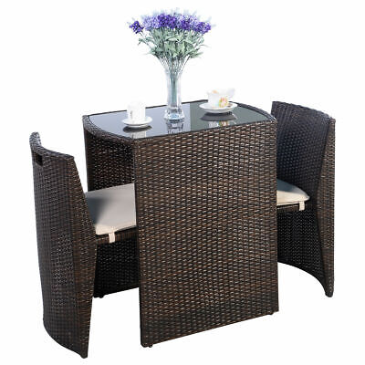 Garden Furniture - 3 PCS Brown Cushioned Outdoor Wicker Patio Set Garden Lawn Sofa Furniture Seat
