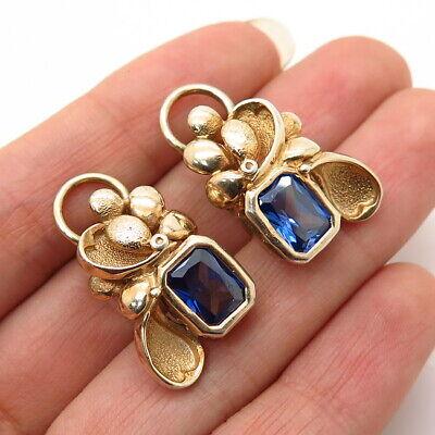 925 Sterling Silver Gold Plated Vintage Royal Blue C Z Floral Design Earrings