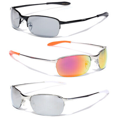 X-Loop Black Silver Gray Metal Frame Sport Sunglasses Neutral and Mirror Lens Silver Gray Sunglasses