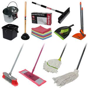 Mops Buckets Brooms Dustpan Brushes Cloths Cleaning Gloves ...