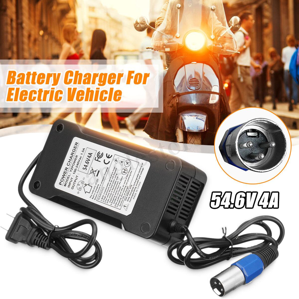 54.6V 4A Output 48V Lithium Battery Charger Black For Electr