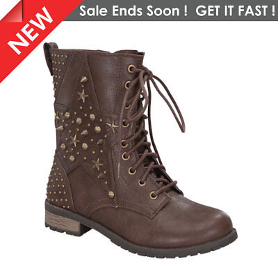 Women's Ladies Brown Girls Combat Boot With Studded Shaft Size 5, 6, 7, 8, 9, 10 - Girls With Combat Boots