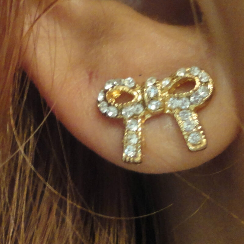 Petite Diamond and Golden Bow Stud Earrings