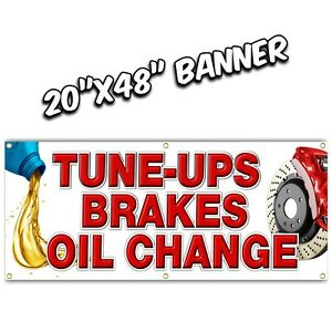 TUNE UPS OIL CHANGE BRAKES banner sign muffler auto parts repair engine light on