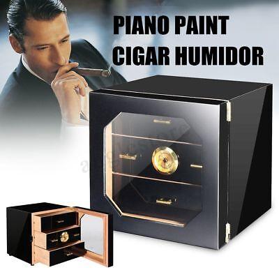 Black Finish Humidor - Black Gloss Piano Finish Cedar Cigar Cabinet Humidor 3 Drawers Fit COHIBA Cigars