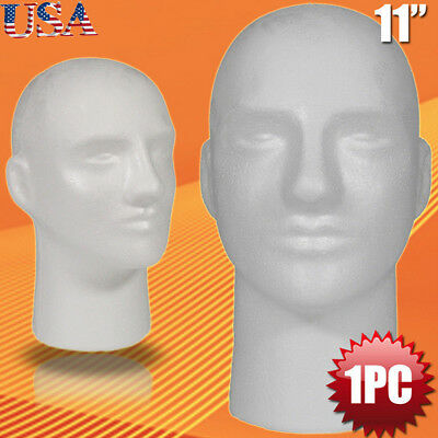 Male Styrofoam Foam Mannequin Manikin Head Model Wig Glasses Hat Display Stand