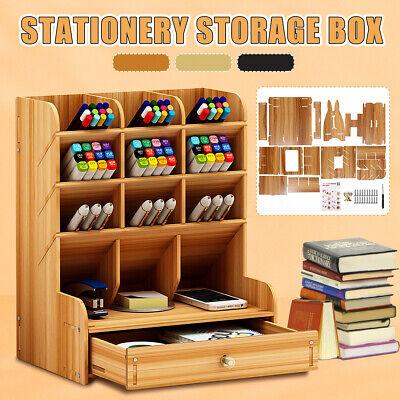 Wood Office Desk Organizer Desktop Pen Pencil Storage Container Multifunction