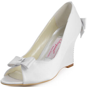 EP41020-Women-White-Peep-Toe-Bow-Rhinestone-Satin-Wedges-Wedding-Bridal-Shoes