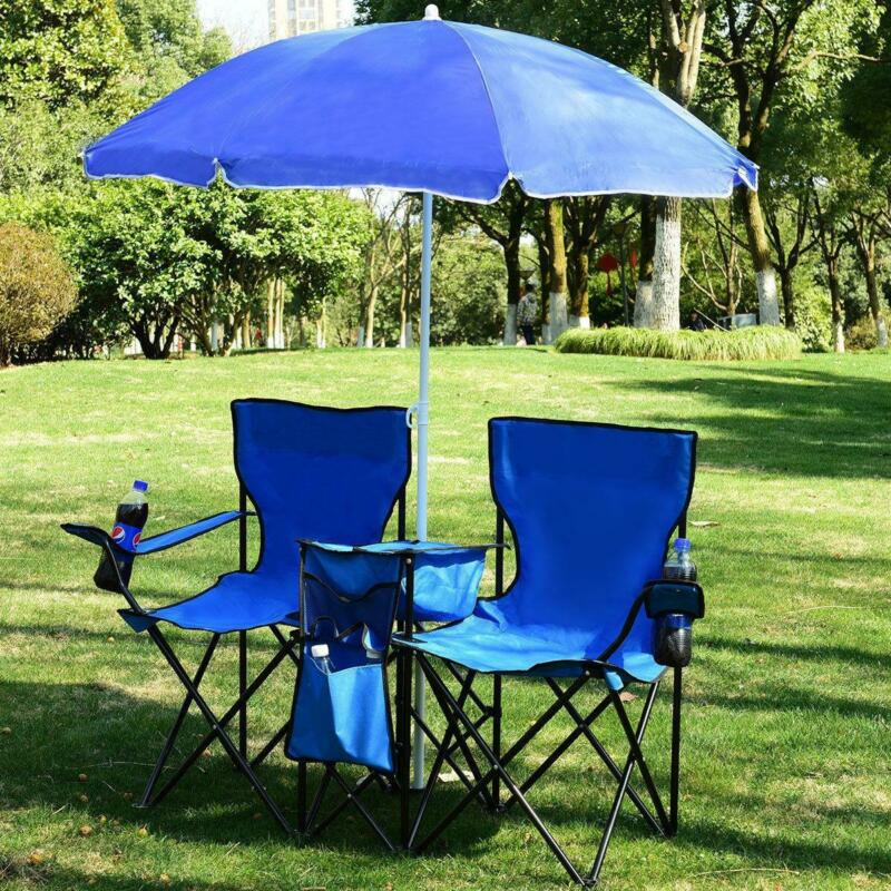 Foldable Picnic Beach Camping Double Chair Umbrella Table Cooler Fishing Fold US