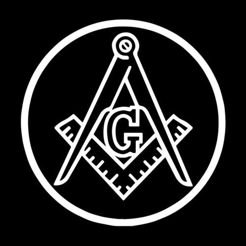 Circle Square & Compass Masonic Vinyl Decal - White 6 Inch