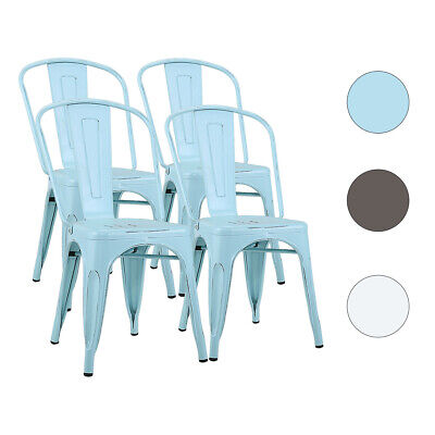 Set Of 4 Metal Modern Dining Chair Kitchen Cafe Restaurant Side Chair Stackable