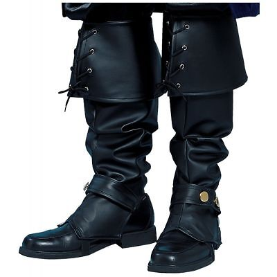 MENS BOOTS SHOES SPATS TOPS COVERS PIRATE COLONIAL RENAISSANCE COSTUME BLACK (Renaissance Shoes)