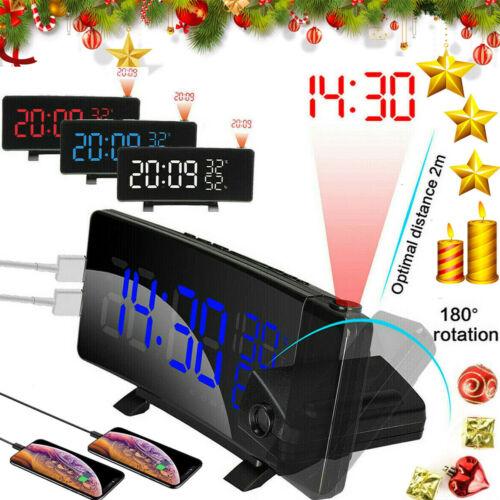7'' Digital Alarm Clock Projection LED Dual Alarm Radio Snoo