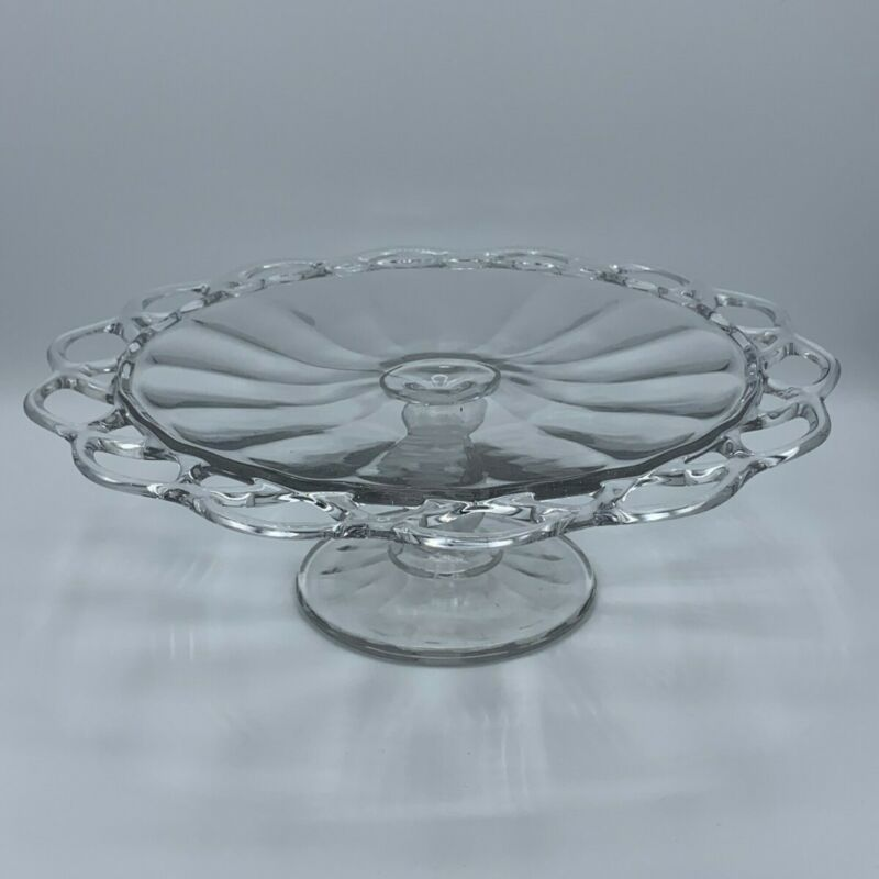 Vintage Imperial Glass Crocheted Crystal Cake Stand