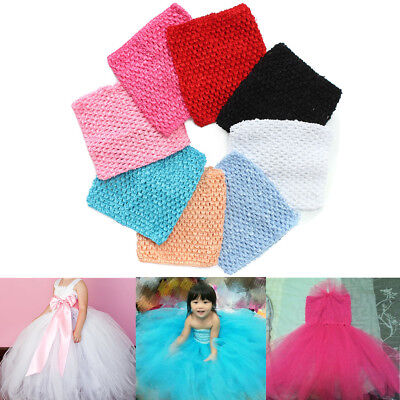 6'' 9'' 12'' Stretch Crochet Tube Top Toddler Baby Girls Headband Waistband Tutu
