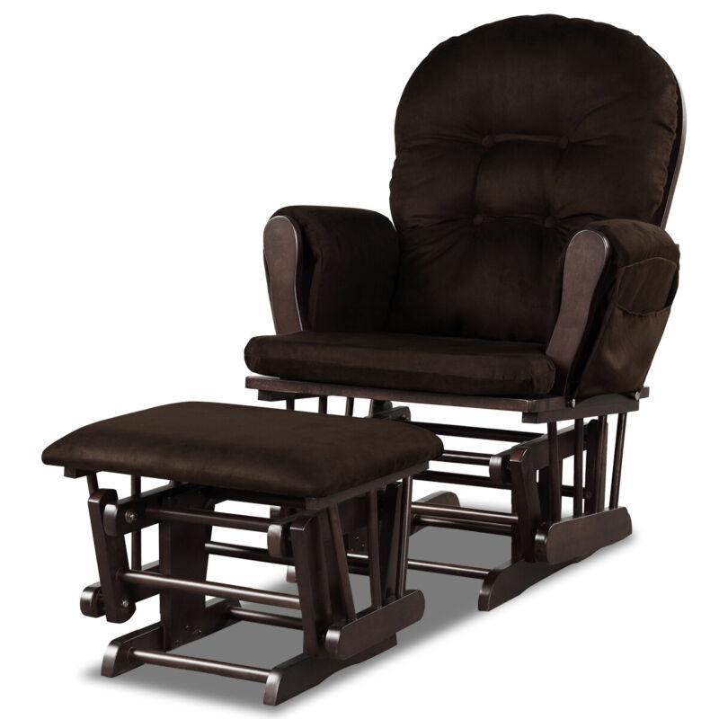 Costway Wood Baby Nursery Rocking Chair Glider and Ottoman Cushion Set Brown