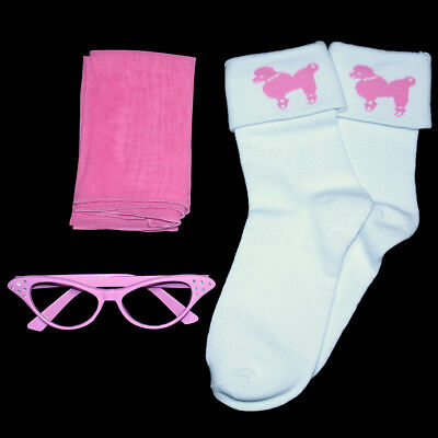 Ladies 50s Poodle Skirt/Sock Hop Acc. Lot -  Sock, Glasses, Scarf _ PINK