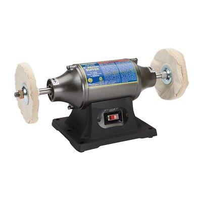 "6"" Buffer Polisher Heavy Duty 1/2 HP Motor Smooth Metal Wheels Work Bench Table"