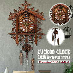 US Style Vintage Wood Cuckoo Clock Forest House Swing Wall Handcraft Room  P
