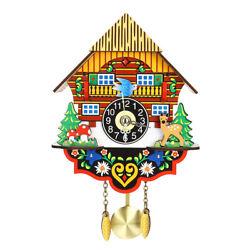 Vintage Home Bird Swing Cuckoo Pendulum Wall Clock Wood Decorative Mounted