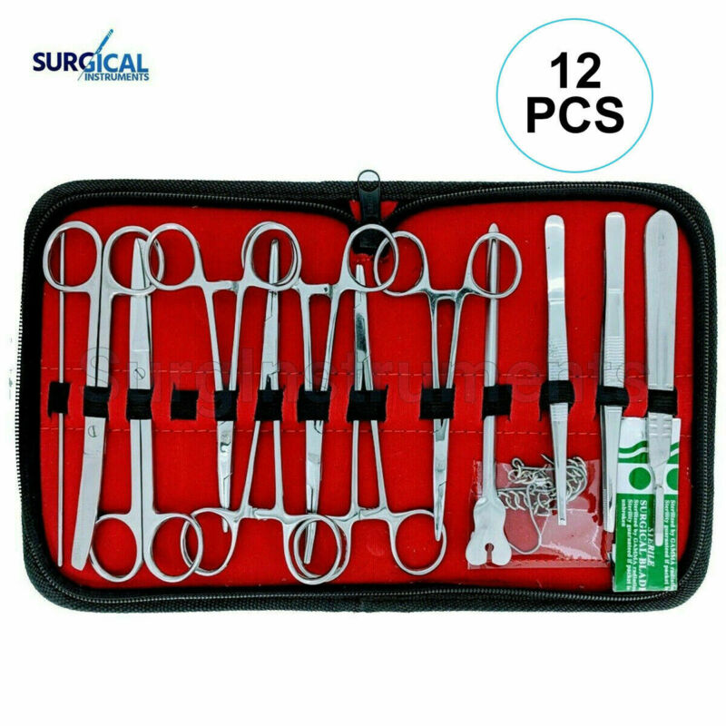 12 Pc Instrument Surgical Kit Survival Emergency First Aid Military Case